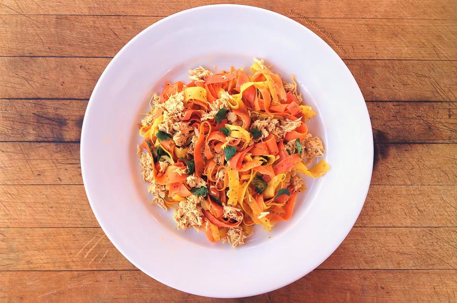 Slow-cooked orange chicken recipe:  Rainbow ribbon carrot pasta