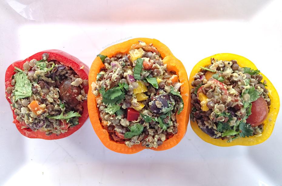 Rainbow Quinoa Lentil Salad Stuffed Bell Peppers Recipe