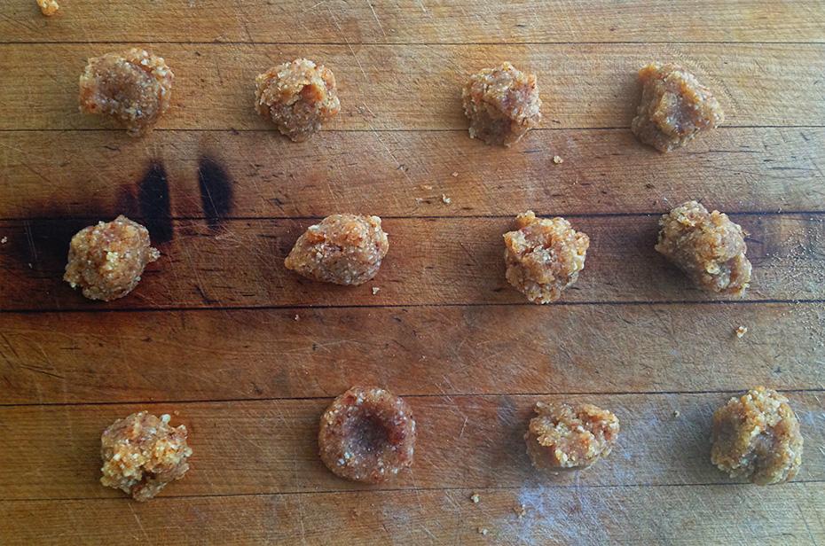Raw Macadamia Nutmeg Cookies - forming