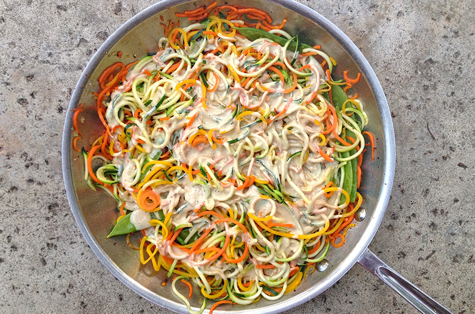 Shrimp Pad Thai with Veggie Rainbow Noodles - sequencing