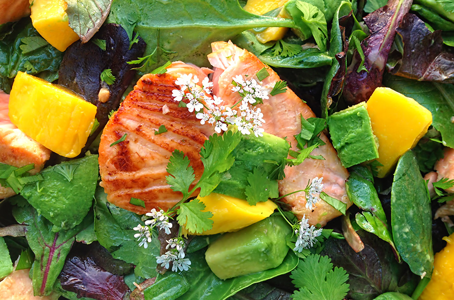 Maple Salmon Salad - close up