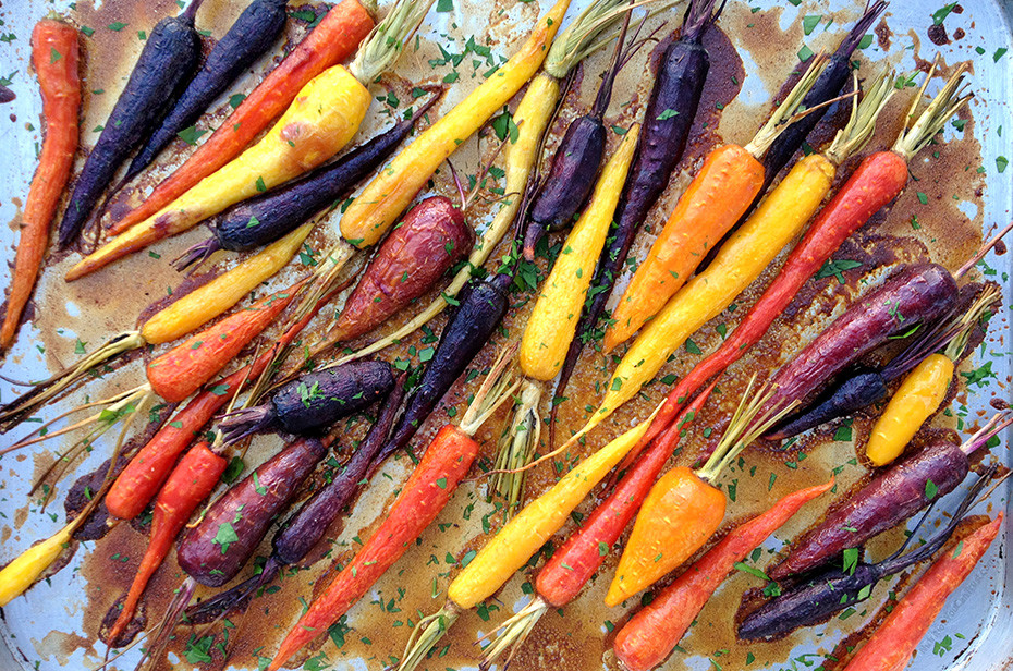 Roasted Garlic Maple Rainbow Carrots